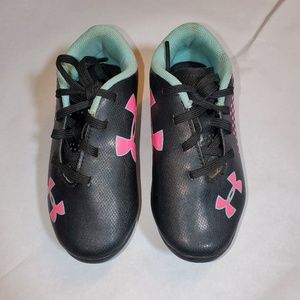 Under armour kids toddlers cleats pink and black